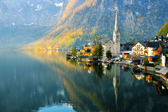 Sunshine on Hallstatt town. With the reflect on the lake Stock Photos