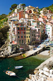 Sunshine at the Harbour Side of Riomaggiore Stock Photo