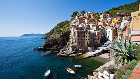 Sunshine at the Harbour Side of Riomaggiore Royalty Free Stock Photos