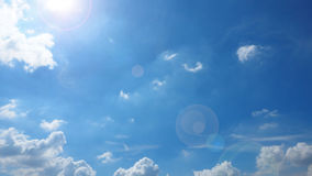 Sunshine have len flare Sky Blue and cloud Stock Images