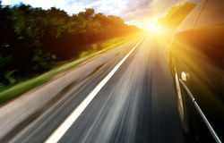 Sunshine on highway Stock Image