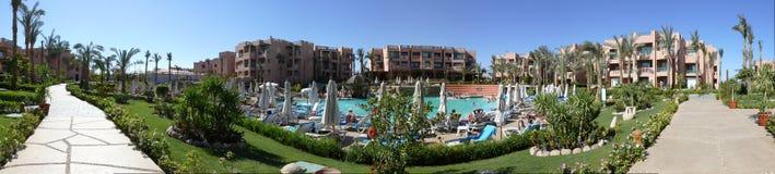 Sunshine hotel panorama Stock Image