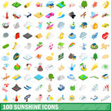 100 sunshine icons set, isometric 3d style Stock Photography