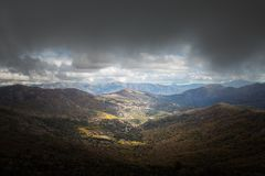 Sun shining on valley at Pioggiola in Balagne region of Corsica Stock Images