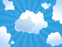 Sunshine illustration. Skies with beautiful clouds and sunshine Royalty Free Stock Photos