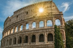 Sunshine inside the arch of the Colosseum, Rome. Lazio Stock Photos