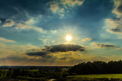 Sunshine. A landscape littered with sun rays Royalty Free Stock Photography