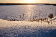Sunshine Landscape snowpack on the ice covered Stock Photo