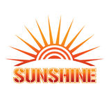 Sunshine Logo. Sun with rays and interior waves Royalty Free Stock Photos