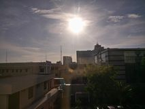 Sunshine on the Makassar city. Look the sun in the morning royalty free stock images