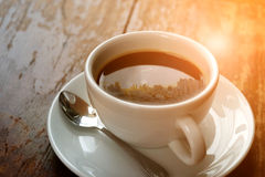 Sunshine morning time and city on coffee. Sunshine morning time and city reflection on coffee , process in vintage style Royalty Free Stock Photos