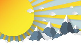 Sunshine,mountains and sky paper art style Royalty Free Stock Photo