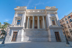 Sunshine on The Museum Prado Cason Del Buen Retiro.  Rear portico enclosed by tall Roman columns. Stock Images