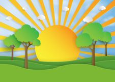 Sunshine on nature landscape background paper art style Royalty Free Stock Photography