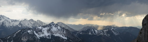 Sunshine over the alps. At Aggenstein mountain Royalty Free Stock Photo