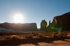 Sunshine over desert stock photography