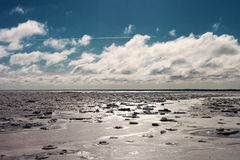 Icy Baltic sea in winter. Royalty Free Stock Photography