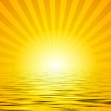 Sunshine over water. A yellow illustrated background of sunshine with water Royalty Free Stock Photography