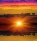 Sunshine over water surface Stock Photo