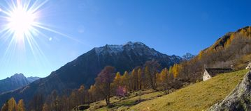 Sunshine panorama. Shot of a mountain panorama with sunshine star effect Stock Image