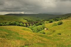 Sunshine and rain, Dentdale, Yorkshire Royalty Free Stock Photo