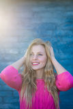 Sunshine rays and beautiful happy smile woman, outdoor portrait Royalty Free Stock Image