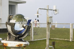 Sunshine Recorder. This is a sun hour recorder at a weather station.  The glass ball gives a crystal ball effect, i.e. looking into the future.  As well as Royalty Free Stock Photography