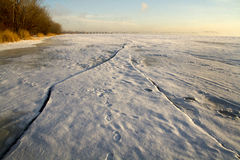 Sunshine on the Saint Lawrence river in the winter morning Royalty Free Stock Photography