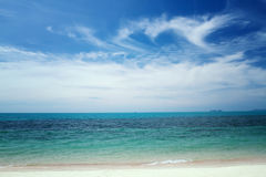 Sunshine and sandy beach and tropical sea at Samui Island,soft a. Nd blurry background Royalty Free Stock Photo