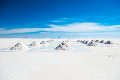 Sunshine scenery of Salar de Uyuni in Bolivia stock images