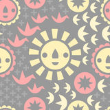 Sunshine Seamless Pattern. A seamless fun sunshine pattern with origami cranes, flower faces, and geometric icons Royalty Free Stock Photo