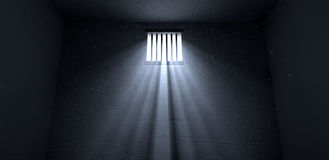 Sunshine Shining In Prison Cell Window Stock Photos