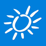 Sunshine sky. Simplified shape of a white sun on blue sky Stock Image