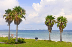 Sunshine Skyway. A view of the Sunshine Skyway from Ft. DeSoto Park in St. Petersburg, Florida royalty free stock photos