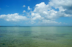 Sunshine Skyway. Seascape with Sunshine Skyway cable-stayed bridge across Tampa Bay, Florida stock photos
