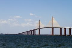 Sunshine Skyway Bridge. Is a suspension bridge which crosses the mouth of Tampa Bay, Florida royalty free stock image