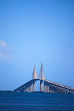 Sunshine Skyway Bridge. Scenic view of Bob Graham Sunshine Skyway Bridge with blue sky and copy space background over Tampa Bay, Florida royalty free stock photography
