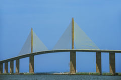 The Sunshine Skyway Bridge. Over Tampa Bay, Florida was opened to traffic on April 20, 1987. In 2005, the current bridge named after the Governor of Florida and stock photo