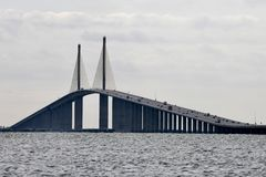 Sunshine Skyway Bridge. This is a picture on an overcast day of the iconic Bob Graham Sunshine Skyway Bridge over Tampa Bay, Florida connecting St. Petersburg in royalty free stock images