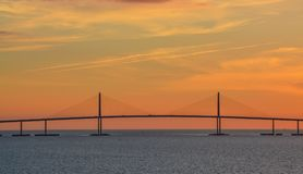 Sunshine Skyway Bridge Silhouette on Tampa Bay, Florida.  Stock Photo