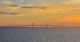 Sunshine Skyway Bridge Silhouette on Tampa Bay, Florida Royalty Free Stock Photos