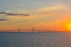 Sunshine Skyway Bridge Silhouette on Tampa Bay, Florida.  Royalty Free Stock Photo