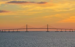 Sunshine Skyway Bridge Silhouette on Tampa Bay, Florida Stock Images