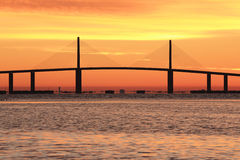 Sunshine Skyway bridge at sunrise. The Sunshine Skyway bridge just before the sun rising royalty free stock photography