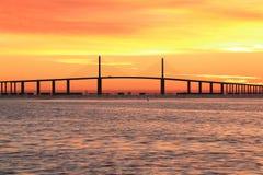 Sunshine Skyway bridge at sunrise. The Sunshine Skyway bridge just before the sun rising stock photo