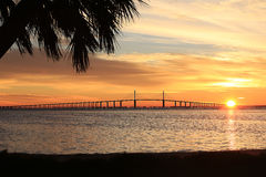 Sunshine Skyway Bridge in Florida at Sunrise Stock Image