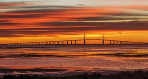 Sunshine Skyway Bridge at Sunrise. St. Petersburg, Florida, USA royalty free stock photography