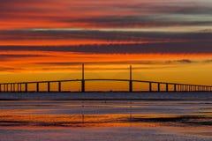 Sunshine Skyway Bridge at Sunrise. Sunshine Skyway Bridge over the Gulf of Mexico at Sunrise - St. Petersburg, Florida stock image