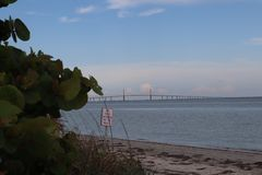 Sunshine Skyway Bridge view from Fort DeSoto Park, Florida.  stock photos