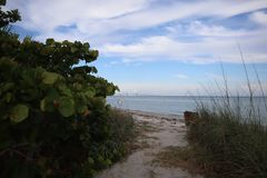 Sunshine Skyway Bridge view from Fort DeSoto Park, Florida.  royalty free stock photos